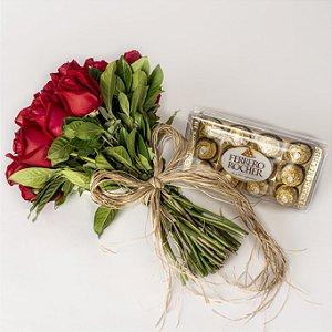 Bouquet de Rosas Vermelhas com Chocolates Ferrero Rocher