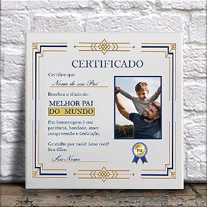 Azulejo Certificado de Melhor Pai Presente Dia Dos Pais