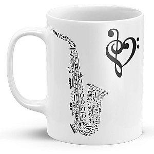 Caneca de Porcelana Saxofone de Notas e Claves