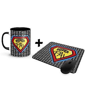 Kit Caneca com Foto e Mouse Pad Dia dos Pais - Super Pai