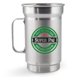 Caneca de Chopp de Alumínio 750 ml Dia dos Pais - Super Pai - Heineken