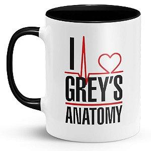 Caneca Personalizada Eu Amo Grey`s Anatomy Com Nome