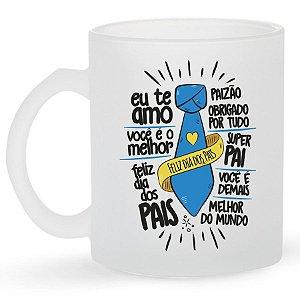 Caneca de Vidro Jateado 325ml Personalizada Dia dos Pais - Frases