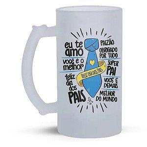 Caneca de Vidro Jateado 500ml  Personalizada Dia dos Pais - Frases