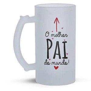 Caneca de Vidro Jateado 500ml  Personalizada Dia dos Pais - O Melhor Pai do Mundo