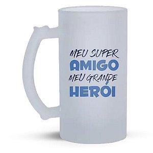 Caneca de Vidro Jateado 500ml  Personalizada Dia dos Pais - Meu Super Amigo Meu Grande Herói