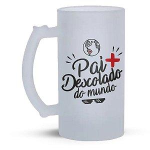 Caneca de Vidro Jateado 500ml  Personalizada Dia dos Pais - Pai + Descolado do Mundo