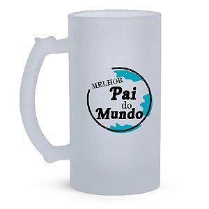 Caneca de Vidro Jateado 500ml  Personalizada Dia dos Pais - Melhor Pai Do Mundo (Modelo 2)