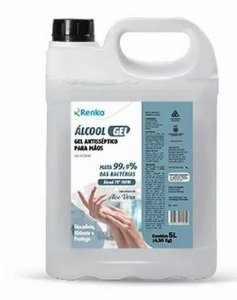 Álcool Gel Aloe vera 70% Renko embalagem 05 litros