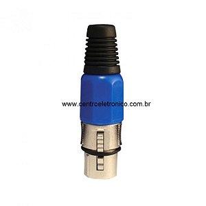 Conector Canon Cabo Femea Rosca Azul