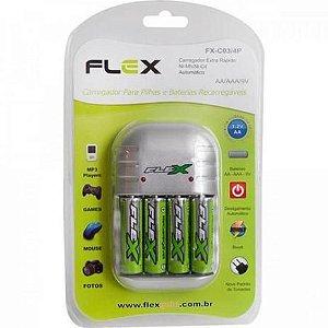 Carregador 1,2v Pde 4aa/4aaa/9vx2 Flex C/pilhas
