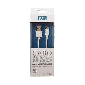 CABO USB PARA V8 MICRO USB 1 METRO BRANCO FLAT 10MM