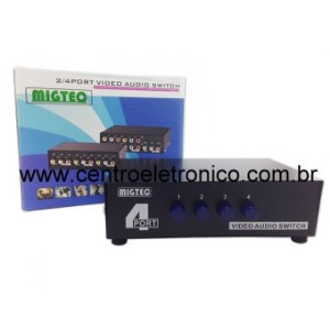 COMUTADOR AUDIO E VIDEO 4 ENTRADA RCA PARA 1 SAIDA RCA