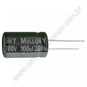 CAPACITOR ELETROLITICO 100MFX200V 16X25M 105G