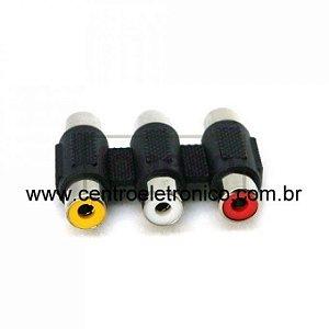 EMENDA RCA 3X3 PLASTICA VM/AM/BR(10)