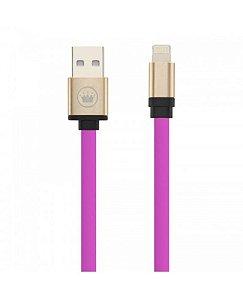 CABO USB PARA IPHONE LIGHTNING 2 METROS ROSA COM PRETO