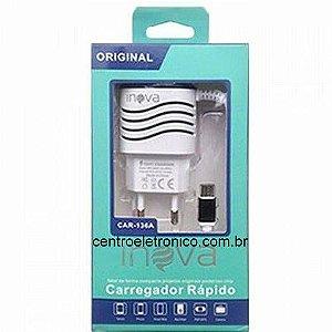 CARREGADOR CELULAR COM CABO V8 MICRO USB + 1USB+CABO V8 3,1A