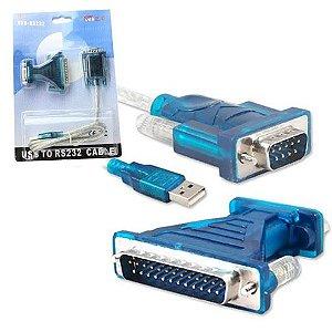 CONVERSOR USB PARA SERIAL DB9 MACHO COM ADAPTADPR PARALELO DB25