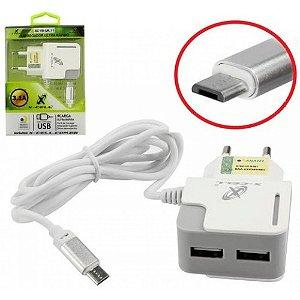 CARREGADOR CELULAR 2 USB 3,1A COM CABO V8 MICRO USB AD0434