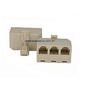 ADAP TEL 6P4 TIPO T RJ11 1MACHO+3FE RJ11