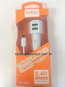ADAP(G)ACENDE 2USB+CABO V8 3,4A KAIDI