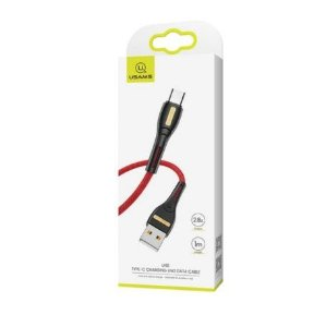 CABO USB PARA TIPO C 1 METRO VERMELHO NYLON USAMS US-SJ390