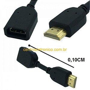 ADAPTADOR HDMI MACHO PARA HDMI FEMEA  FLEXIVEL CABO 10CM
