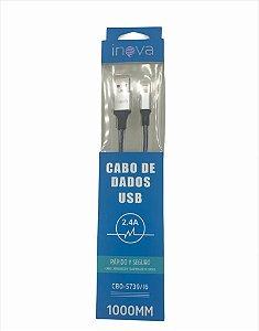 CABO USB PARA IPHONE LIGHTNING 1 METRO PRETO METAL LOTUS