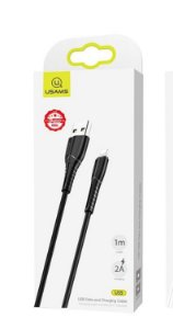 CABO USB PARA IPHONE LIGHTNING 1 METRO NYLON PRETO USAMS US-SJ367