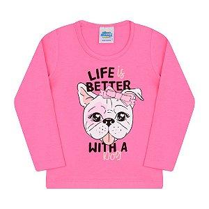 Blusa chiclete em cotton estampa cachorrinho com detalhes em glitter