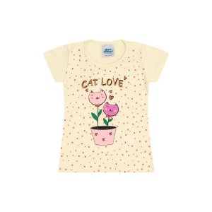 Blusa em cotton cor amarelo claro com glitter na estampa cat love