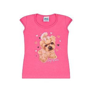 Blusa em cotton na cor chiclete com estampa com glitter