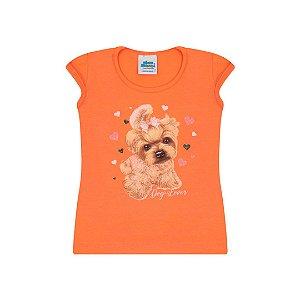Blusa em cotton na cor tangerine com estampa com glitter