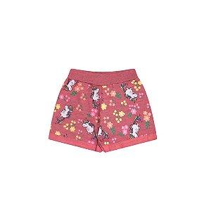 Shorts moletinho flamê na cor coral com estampas de unicórnios