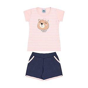 Conjunto cotton  moletinho cor rosa bebê e marinho estampa e laço
