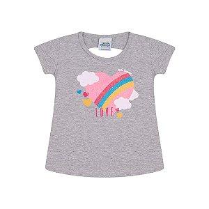 Blusa em cotton cor mescla com glitter na estampa