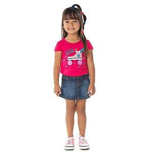 Blusa em meia malha cor pink com glitter na estampa