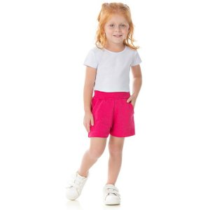 Shorts de cotton cor pink com brilho