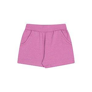 Shorts de cotton cor uva com brilho