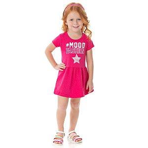 Vestido em cotton cor pink com brilho e estampa com glitter