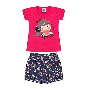 Conjunto em cotton cor pink e marinho com bordado na estampa