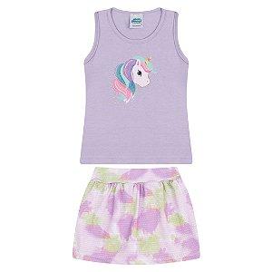 Conjunto cores lavanda e lilás estampa de unicórnio com strass
