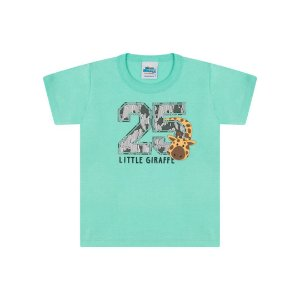 Camisa meia malha cor verde claro com puff na estampa de girafa