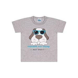 Camisa em meia malha cor mescla com aplique na estampa