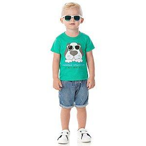 Camisa em meia malha cor verde marine com aplique na estampa