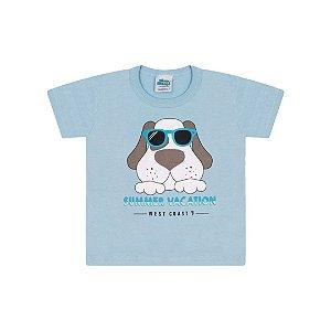 Camisa em meia malha cor azul bebê com aplique na estampa
