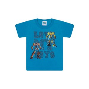 Camisa em meia malha cor azul céu com puff na estampa