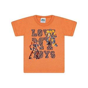 Camisa em meia malha cor laranja queimado com puff na estampa