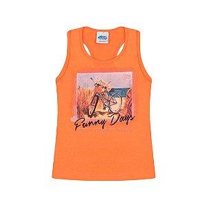 Regata cotton cor tangerine com glitter na estampa de bicicleta