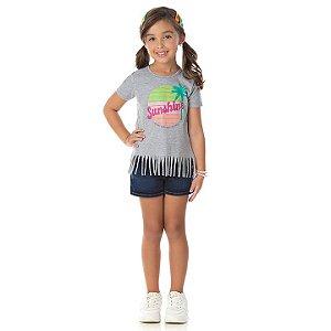 Blusa em meia malha cor mescla com glitter na estampa de verão